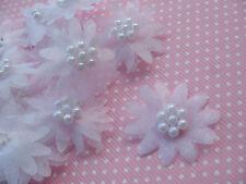 10 X Organza Blanco Daisy Con cuentas Adornos De Diadema Apliques De Flores