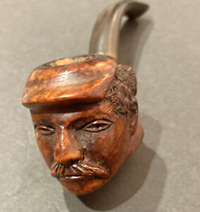 EXCEPTIONAL VINTAGE BASEBALL TOBACCO SMOKING PIPE W/FIGURAL PLAYER & CURVED STEM
