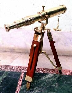 Antique Nautical Navy Brass Telescope With Wooden Tripod Stand Working Decor