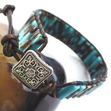 New Boho Tub Sea Sediment Jasper &Gold Copper Bornite Leather Wrap Bracelet Cuff