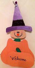 Handmade Halloween Wood Witch Pumpkin Door Hanging Decoration