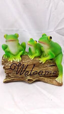 Welcome Frogs on a Log Figurine