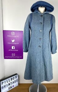1960s Blue Check Knit Wool Hooded Button Front Coat Size 6-8 UK