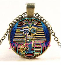 Egypt Pharaoh Skull Cabochon bronze Glass Chain Pendant Necklace TS-4335