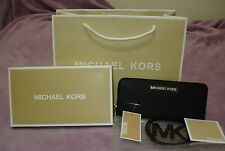 Genuine Michael Kors Black Saffiano Leather Jet Set Travel Purse Wallet