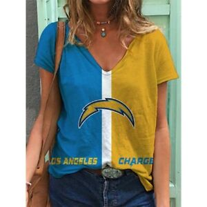 Los Angeles Chargers Women V-Neck T Shirt Casual Loose Blouse Short Sleeve Tops