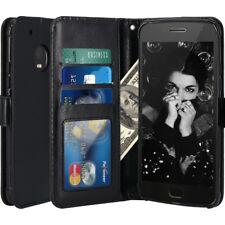 Cuero Artificial Negro Libro Cartera Funda con Soporte para Motorola Moto G5