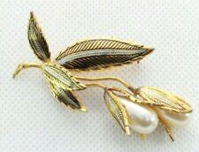 - Faux Pearls - Damascene - Gold Tone Brooch Pin - Signed Spain - Flower Bouquet