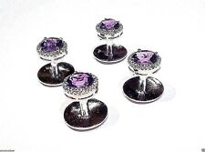 New Fashion 925 Sterling Silver Genuine Natural Amethyst Tuxedo Button Set
