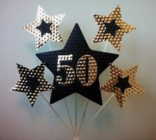 50th BIRTHDAY or ANNIVERSARY CAKE TOPPER. STARS, Gold and Black.