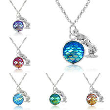 Crystal Shimmery Scales Mermaid Pendant Necklace Chain Jewelry Women Elegant New