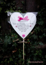 Memorial heart Pink-Baby funeral verse- Child Grave Ornament-Personalised 15cm