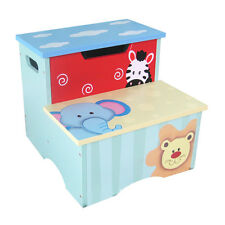 Quality Hand painted Bright Color Toddler Step Stool Storage Box Kids Furniture