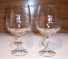 """2 """"L"""" Initial Wedding Anniversary Toast Crystal Glass Wine Goblets Glasses"""