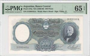 Argentina 500 Pesos 1960 P-278a PMG 65 EPQ