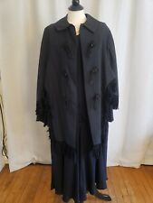 Antique Victorian/Edwardian Women's Black Fringed Mourning Cape & Dress L/Xl