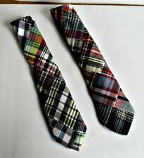 "2- J. CREW, BOYS ""PLAID"" MULTICOLORED, 43"" TIES. 100% COTTON. PREOWNED. (4696)"