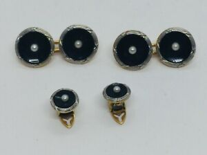 Antique Art Deco 14k Yellow Gold Black Onyx & Pearl Cufflinks & 2 Studs