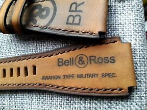 24mm handmade, suede leather watch strap, army, Bell & Ross logo, brown