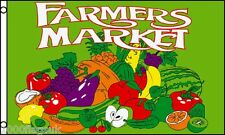 Les agriculteurs du marché de fruits et légumes stall farm shop signe publicité pos 5'x3' drapeau