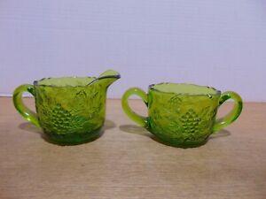Smith Glass Creamer And Sugar Bowl Emerald Green Grape Pattern