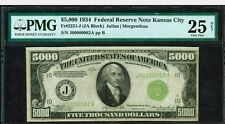Fr. 2221 J $5000 1934 Kansas City Federal Reserve Note PMG, VF 25  Only 7 known