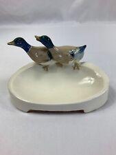 Vintage Ceramic Soap Dish Trinket Dish Ducks Marked XII