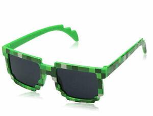 Boys Gamer UV400 Boys Kids Green Camouflage Pixel SUNGLASSES Childs Size