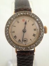 18ct 18 k Gold & Platinum Diamond Set Bezel Watch - 1916 - WORKING