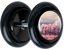 Pair Pink Tree Dreamscape FAKE GAUGES EARRINGS CHEATER body jewelry 5173