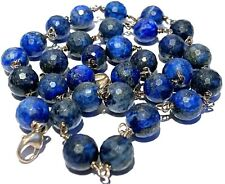 VINTAGE STERLING SILVER STUDIO ARTISAN FACETED LAPIS BEADED CLASP NECKLACE