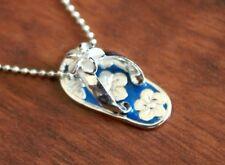 Hawaiian Jewelry Sterling Silver PLUMERIA FLOWER SLIPPER Pendant Necklace SS1553