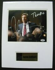 BATMAN DARK KNIGHT photo signed by AARON ECKHART, with 2 COAs, matted w/ plate