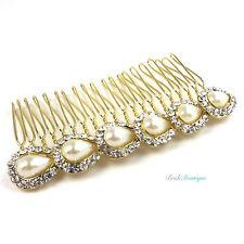 Boda nupcial Prom Estilo Vintage De Cristal Y Perla Oro Peine del pelo y clip deslizante Hc14