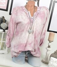 BLUSE Tunika VINTAGE Spitze PAILLETTEN Batik Rosa OVERSIZE Shirt STERNE 36 38 40