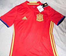 """SPAIN NATIONAL TEAM EMBROIDERED """"ADIDAS"""" RED SOCCER JERSEY YOUTH LARGE NEW $70"""