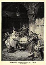 J.E.Gaißer ( Landsknechte und Pfaff im Weinkeller ) Dekorative Graphik von 1901