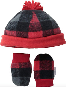 Columbia Infant Baby Fireside Cuddle Fleece Beanie Hat & Mitten Set One Size Red