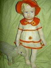 Antique 1929, Lenci 300 Series girl doll, organdy dress & hat (both feet signed)