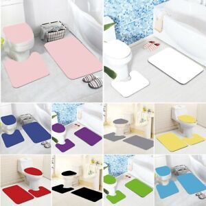 3 Piece Soft Bathroom Mat Contour Rug Set Toilet Lid Cover Plain Color Bathmats