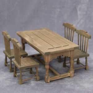 1:12 Dollhouse Mininature Dinning Table Chair Vintage Wooden Furniture Model Toy