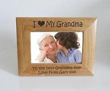 Grandma Photo Frame- I heart-Love My Grandma 6 x 4 Photo Frame - Free Engraving