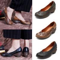 SOCOFY Women Soft Genuine Leather Shoes Summer Slip on Mid Heel Pumps Sandals