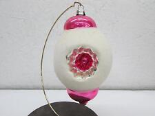 Vintage Christmas German Triple Indent Glass Mica Sugar Coated Ornament Pink