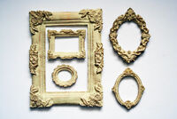 Photo Frame Set of 5 Decorative Round and Square Frames Cream Color ClassicStile