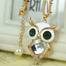Z White Owl Sweater Bead Necklace Rhinestone Crystal Pendant Chain Christma Gift