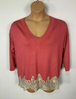 WOMENS NEXT SALMON PINK V NECK KNITTED JUMPER SWEATER PULL OVER PLUS SIZE UK 18