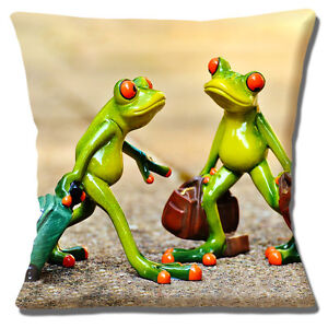 Ceramic Tree Frogs Cushion Cover 16x16 inch 40cm Holiday Travel Suitcases Multi