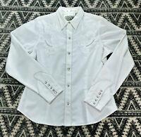 Vintage Roper Embroidery Pearl White Gaberdine L/S Shirt Sz Lg Excellent