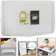 New Plastic Dish Drainer Drip Tray Large Kitchen Sink Drying Rack Holder - White